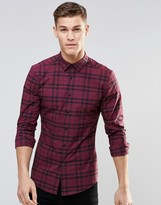 Asos Skinny Shirt In Burgundy Check With Long Sleeves