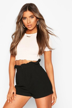 boohoo Petite Paperbag Waist Tailored Short