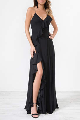 Urban Touch Black Frilldetailstrappedback Maxidress