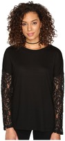 BB Dakota Juleen Soft Knit Top w/ Lace Back and Sleeves