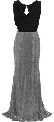 Badgley Mischka Layered Cady And Sequined Metallic Stretch-jersey Gown