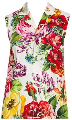 Dolce & Gabbana Poplin Floral-Print Sleeveless Shirt