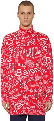 Balenciaga Oversize Jacquard Wool Knit Sweater