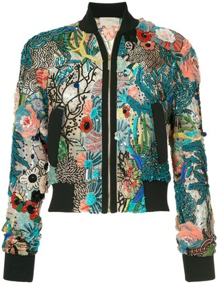 Elie Saab Embellished Bomber Jacket