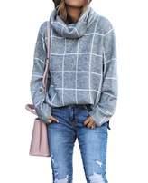 Kirundo KIRUNDO 2019 Winter Women's Turtleneck Knit Sweater Long Sleeves Pullover Plaid Print Side Split Checked Outwear Loose Fit Jumper Tops (Large