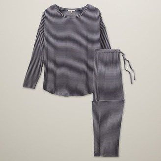 Love & Lore Love And Lore Azalea Pajama Set Blue Stripe Large