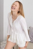 aerie Lace-Up Peasant Top