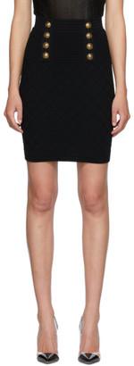 Balmain Black Knit Button Skirt