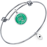 "Unwritten Family is Forever"" Adjustable Message Bangle Bracelet in Stainless Steel"
