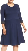 Vince Camuto Plus Size Women's Fit & Flare Sweater Dress