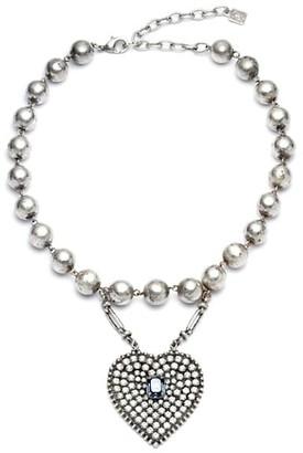 Dannijo Mercer Swarovski Crystal-Embellished Heart Pendant Bracelet