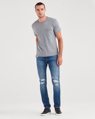 7 For All Mankind Stretch Selvedge Paxtyn with Clean Pocket in Atomic Destroyed