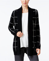Charter Club Cashmere Windowpane-Print Cardigan, Only at Macy's