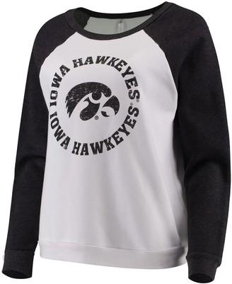 Unbranded Women's Blue 84 White Iowa Hawkeyes Cozy Fleece Raglan Crew Pullover Sweatshirt