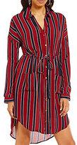 Blu Pepper Striped Long Sleeve Button Front Shirt Dress