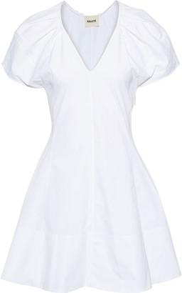 KHAITE Briana Pleated Cotton-poplin Mini Dress