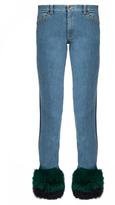 Muveil Fur-panel mid-rise slim-leg jeans