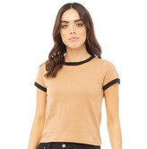Brave Soul Womens Claudia T-Shirt Camel/Black