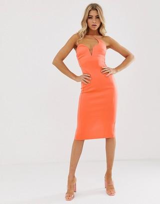 Asos Design DESIGN asymmetric strap midi pencil dress