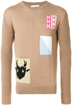 J.W.Anderson patch knit sweater - men - Cotton/Linen/Flax/Polypropylene/Virgin Wool - XS