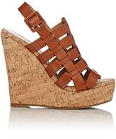 Barneys New York WOMEN'S CAGED PLATFORM WEDGE SANDALS-TAN SIZE 10