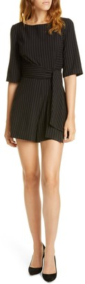 Alice + Olivia Virgil Boat Neck Romper with Belt