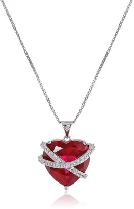 """Amazon Collection Sterling Silver Created Ruby and Created White Sapphire Wrapped Heart Pendant Necklace 18"""""""