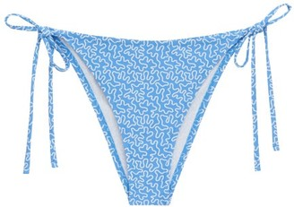 Fisch Chanzy Abstract-print Side-tie Bikini Briefs - Womens - Blue Print