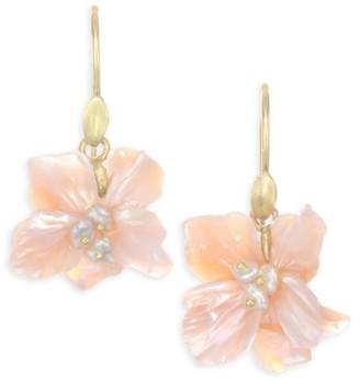 Annette Ferdinandsen Flora African Violet Mother-Of-Pearl Drop Earrings