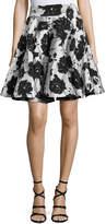 Monique Lhuillier Floral Cloque Jacquard Flared Skirt