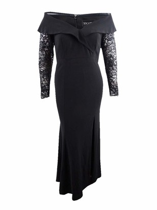 Xscape Evenings Womens Black Lace Sleeve Gown Long Sleeve Off Shoulder Maxi Evening Dress Size: 6
