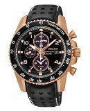 Seiko Solar Chronograph Black Dial Leather Strap Men's Watch SSC274 by