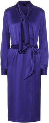 Tom Ford Tie-neck satin shirt dress