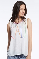 Chaser LA Cali Vintage Jersey Flounce Tank in White