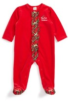 Little Me Infant Girl's Holiday Plaid Velour Footie