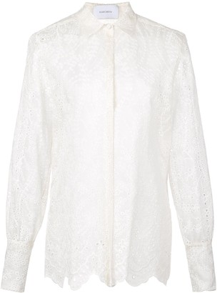 Marchesa Embroidered Sheer Shirt