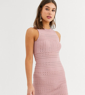 Asos Tall ASOS DESIGN Tall stitch detail stretch knit mini pencil dress