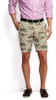 "Classic Men's Print 9"" Casual Chino Shorts-Oyster Tan Scenic"