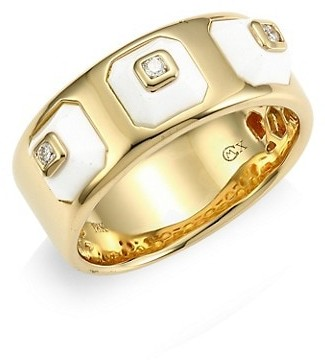 Maria Canale Pyramide 18K Yellow Gold, Diamond & White Agate Narrow Ring