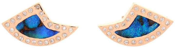 Dezso 18k Rose Gold Opal & Diamond Shark Fin Earrings