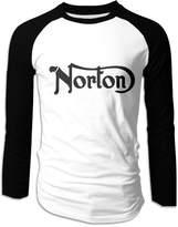 LOOSHIL Men's Norton Motorcycle Logo Long Sleeve Raglan T Shirt