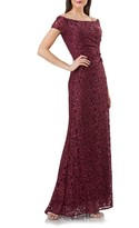 Carmen Marc Valvo Women's Sequin Lace Off The Shoulder Mermaid Gown