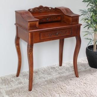 International Caravan Shangri-La Hand Carved Wood End Table with Storage International Caravan
