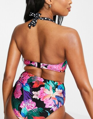 Pour Moi? Pour Moi Fuller Bust In The Mix strapless underwire bikini top in multi polka dot print