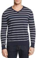 AG Green Label Farrell Stripe Cotton Cashmere V-Neck Sweater
