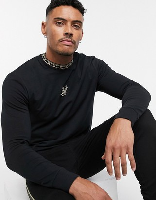 SikSilk long sleeve t-shirt in black with gold taping