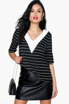 Boohoo Lilly Stripe Mixed Fabric Shell Top
