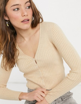 Monki Silja v-neck glitter cardigan in camel