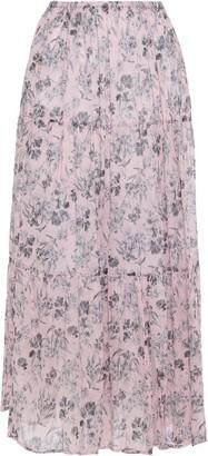 Maje Gathered Floral-print Cotton-gauze Midi Skirt