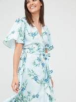 Very Vienna Wrap Frill Midi Dress - Blue/Floral